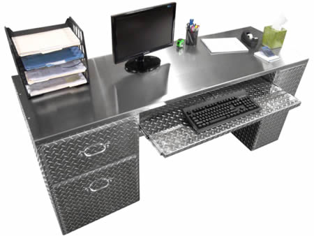 computer desk with the decoration of diamond plate.